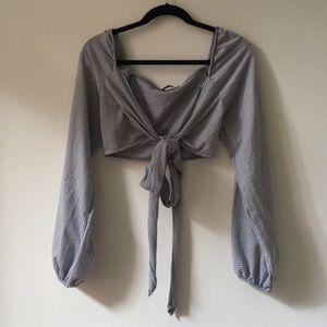 Zara gingham peasant top, tie front